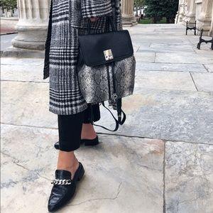Tegan Black Vegan Leather Snakeskin Mini Backpack
